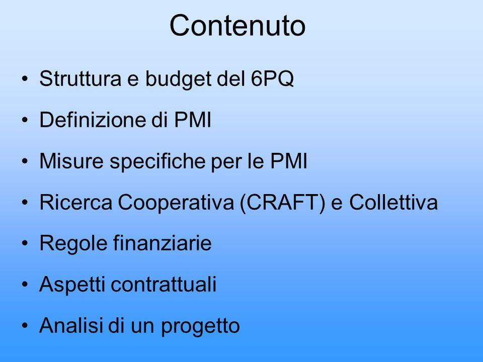 Struttura e budget del 6PQ Definizione di PMI Misure specifiche per le PMI Ricerca Cooperativa (CRAFT) e Collettiva Regole finanziarie Aspetti contrat