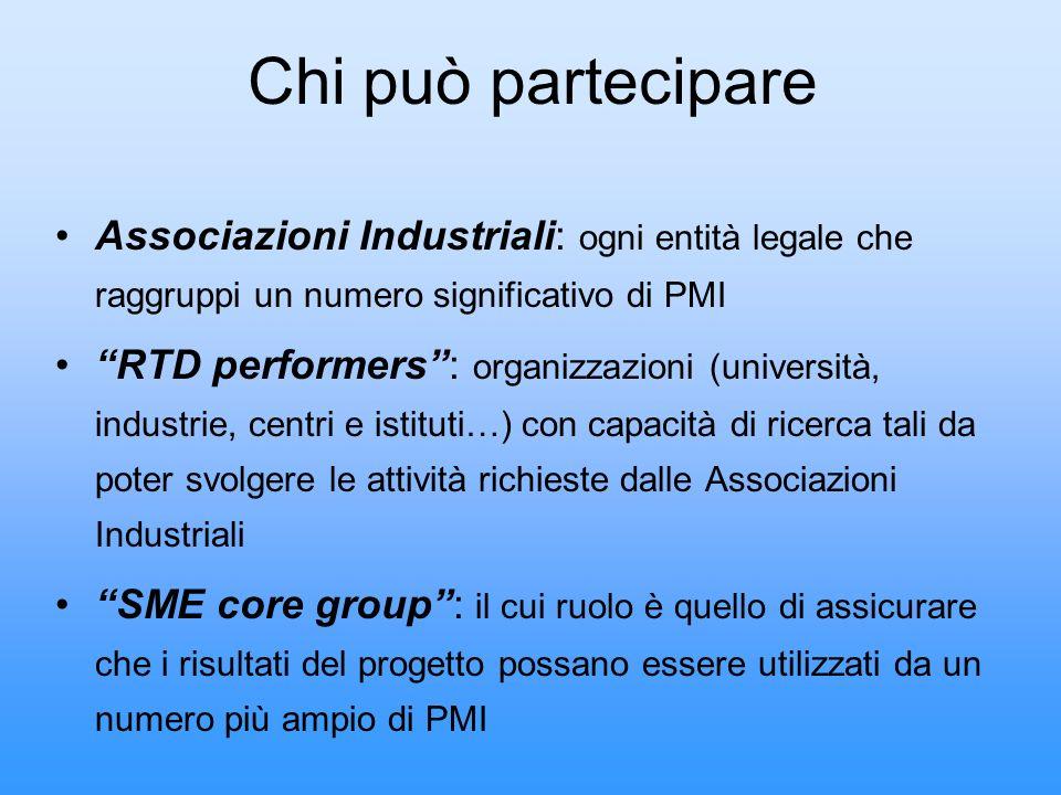 Chi può partecipare Associazioni Industriali: ogni entità legale che raggruppi un numero significativo di PMI RTD performers: organizzazioni (universi