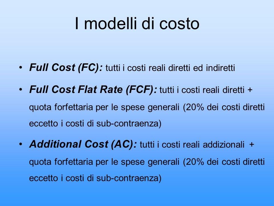 I modelli di costo Full Cost (FC): tutti i costi reali diretti ed indiretti Full Cost Flat Rate (FCF): tutti i costi reali diretti + quota forfettaria