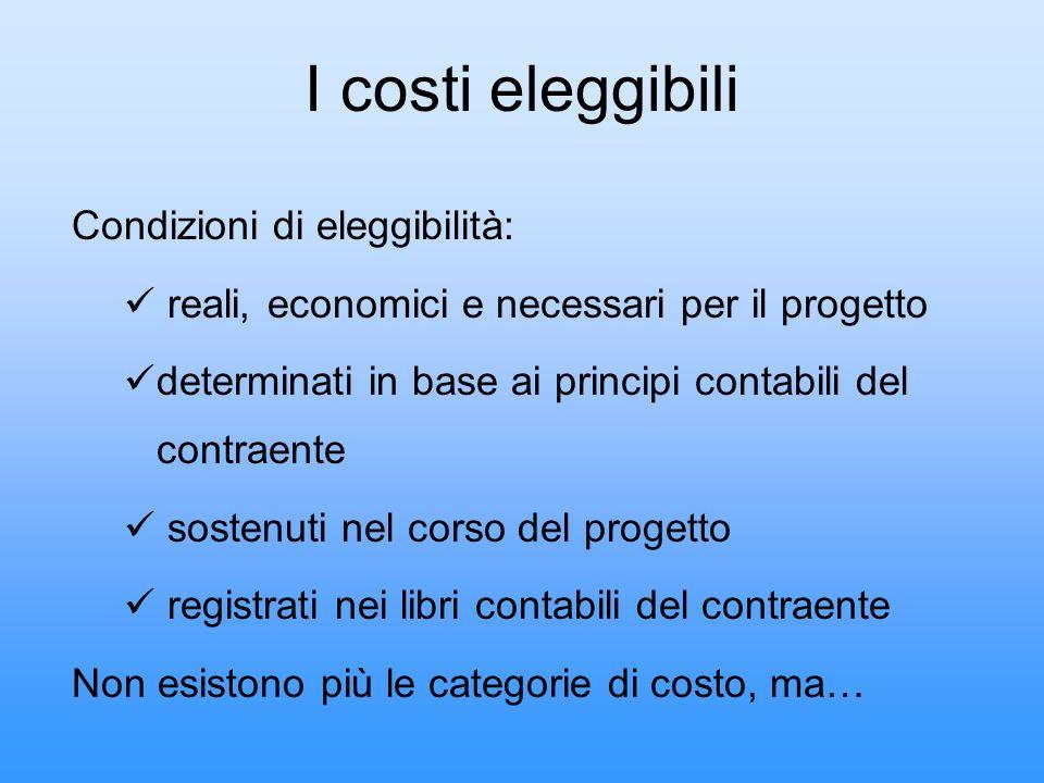I costi eleggibili Condizioni di eleggibilità: reali, economici e necessari per il progetto determinati in base ai principi contabili del contraente s
