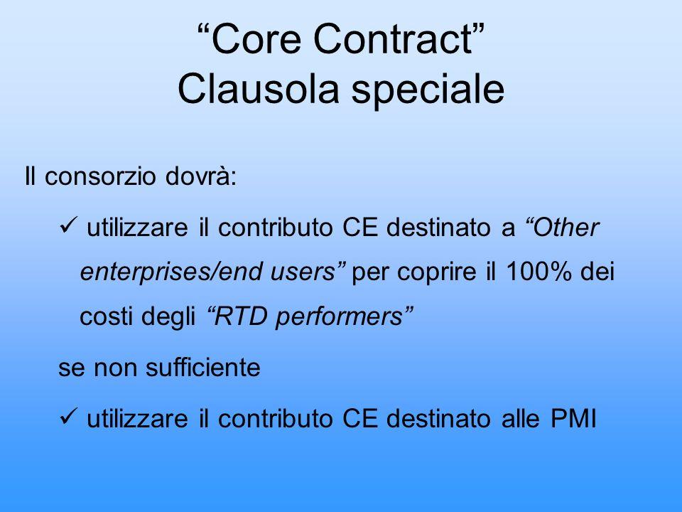 Core Contract Clausola speciale Il consorzio dovrà: utilizzare il contributo CE destinato a Other enterprises/end users per coprire il 100% dei costi