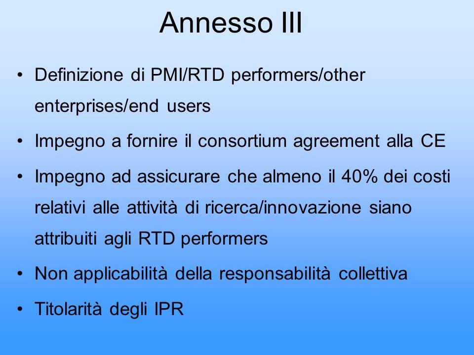 Annesso III Definizione di PMI/RTD performers/other enterprises/end users Impegno a fornire il consortium agreement alla CE Impegno ad assicurare che