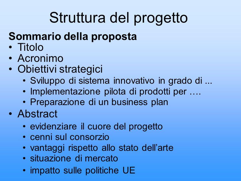 Struttura del progetto Sommario della proposta Titolo Acronimo Obiettivi strategici Sviluppo di sistema innovativo in grado di... Implementazione pilo