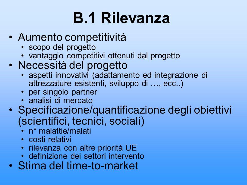 B.1 Rilevanza Aumento competitività scopo del progetto vantaggio competitivi ottenuti dal progetto Necessità del progetto aspetti innovativi (adattame