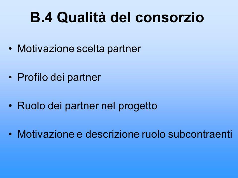 B.4 Qualità del consorzio Motivazione scelta partner Profilo dei partner Ruolo dei partner nel progetto Motivazione e descrizione ruolo subcontraenti