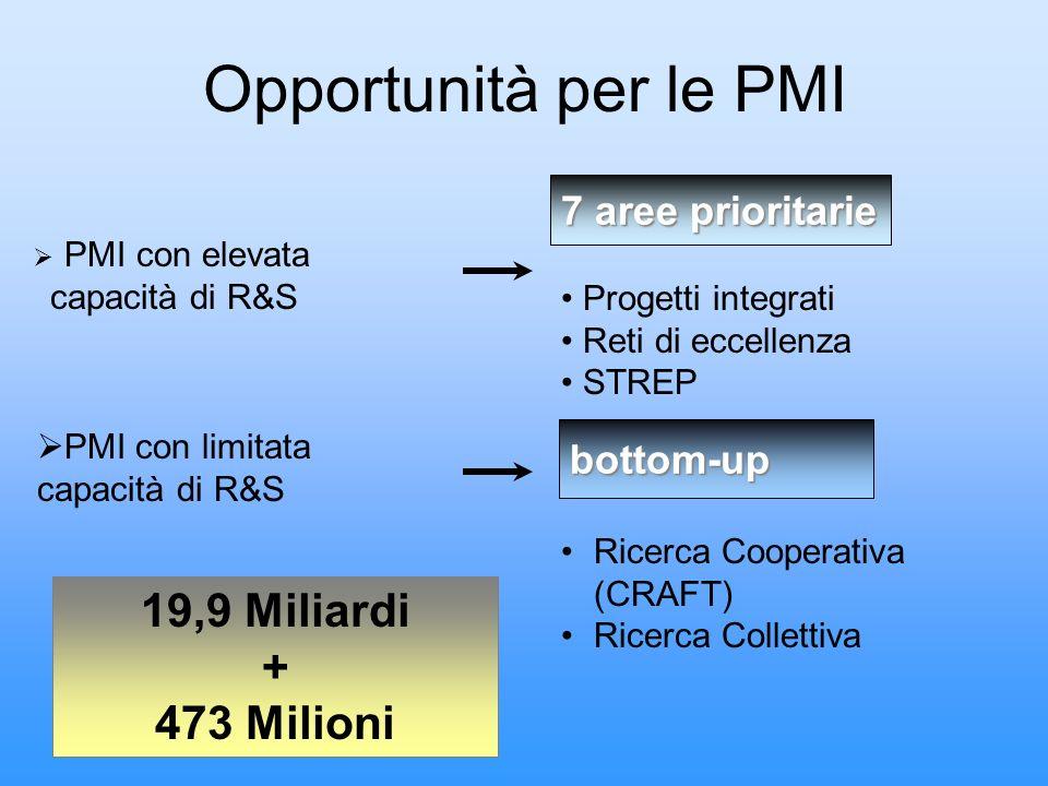 Opportunità per le PMI PMI con elevata capacità di R&S Progetti integrati Reti di eccellenza STREP 7 aree prioritarie PMI con limitata capacità di R&S