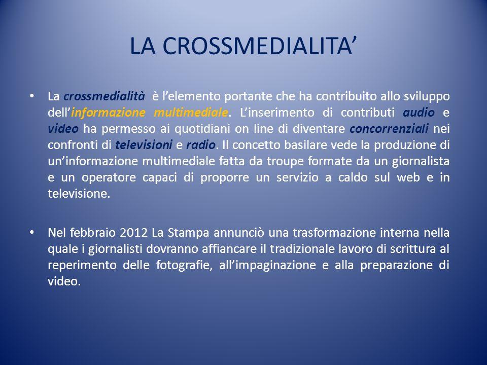 LA CROSSMEDIALITA La crossmedialità è lelemento portante che ha contribuito allo sviluppo dellinformazione multimediale. Linserimento di contributi au