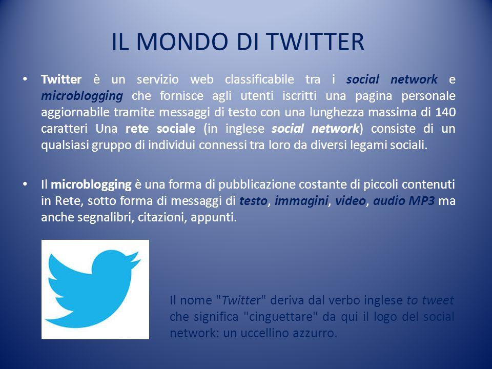IL MONDO DI TWITTER Twitter è un servizio web classificabile tra i social network e microblogging che fornisce agli utenti iscritti una pagina persona