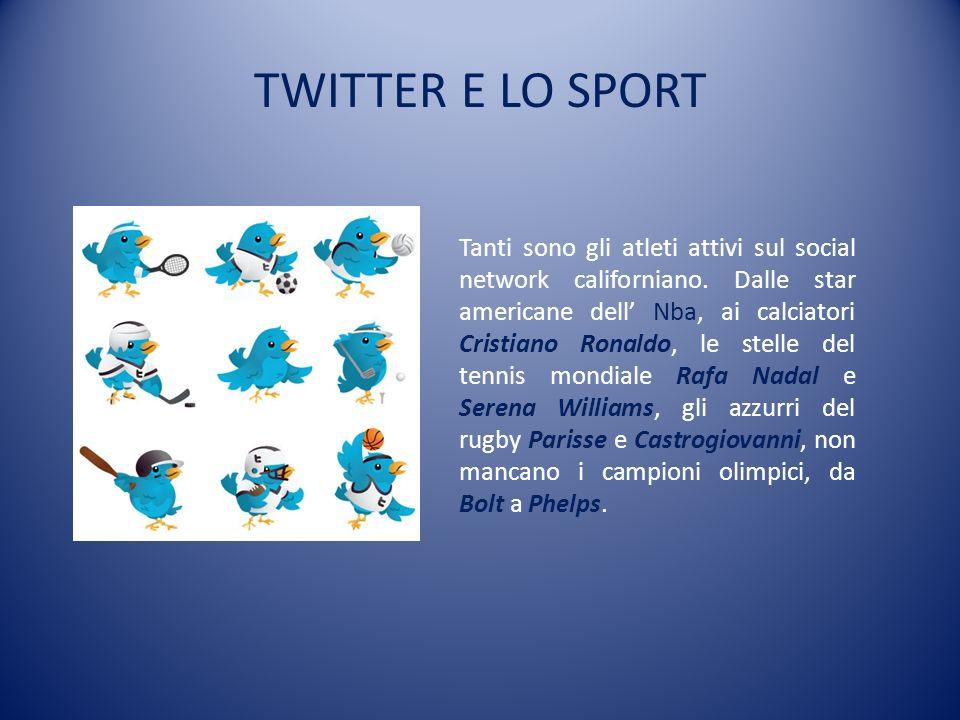 TWITTER E LO SPORT Tanti sono gli atleti attivi sul social network californiano. Dalle star americane dell Nba, ai calciatori Cristiano Ronaldo, le st