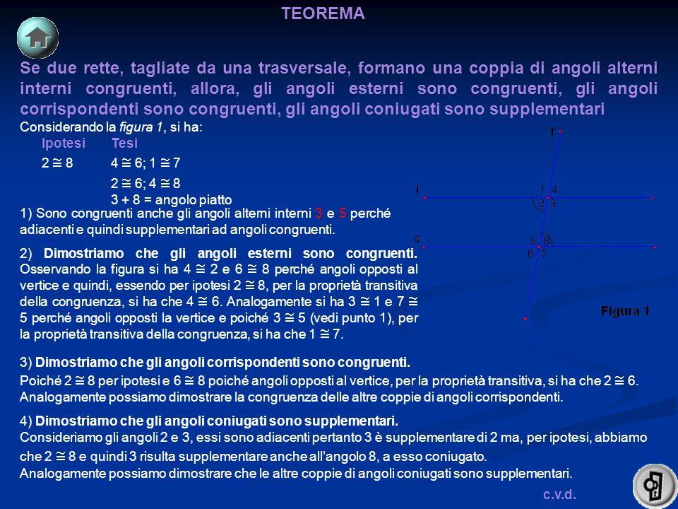 Se due rette, tagliate da una trasversale, formano una coppia di angoli alterni interni congruenti, allora, gli angoli esterni sono congruenti, gli an