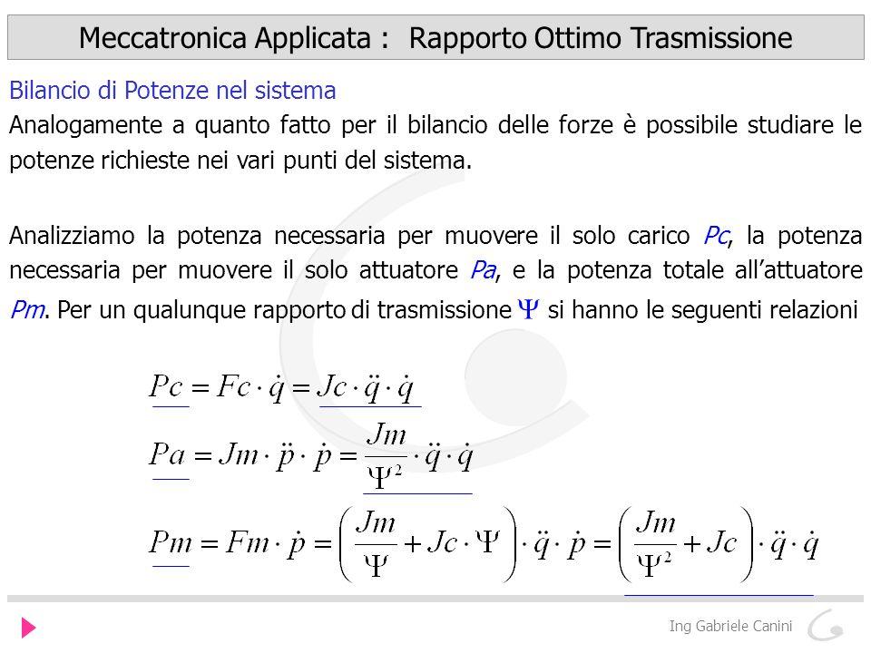 Meccatronica Applicata : Rapporto Ottimo Trasmissione Ing Gabriele Canini Bilancio di Potenze nel sistema Analogamente a quanto fatto per il bilancio