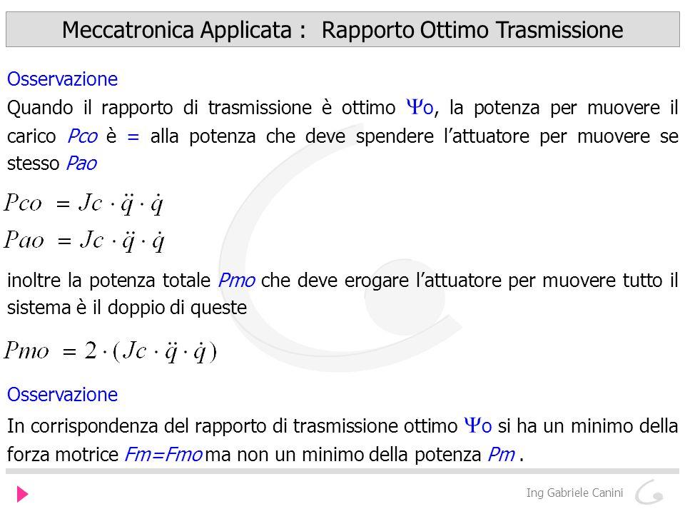 Meccatronica Applicata : Rapporto Ottimo Trasmissione Ing Gabriele Canini Osservazione Quando il rapporto di trasmissione è ottimo o, la potenza per m