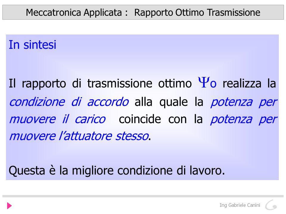 Meccatronica Applicata : Rapporto Ottimo Trasmissione Ing Gabriele Canini In sintesi Il rapporto di trasmissione ottimo o realizza la condizione di ac