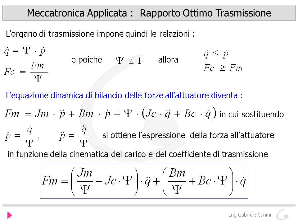 Meccatronica Applicata : Rapporto Ottimo Trasmissione Ing Gabriele Canini consideriamo per ora solo gli effetti dinamici dei termini inerziali per cui pensiamo che non siano presenti attriti cioè Bm=Bc=0 la forza Fm dellattuatore risulta funzione dellaccelerazione del carico moltiplicata per un coefficiente equivalente inerziale a sua volta funzione del rapporto di trasmissione.