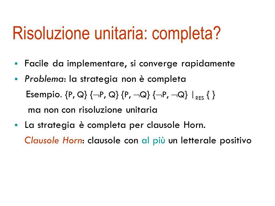 Risoluzione unitaria Risoluzione unitaria: almeno una delle due clausole è unitaria (contiene un solo letterale) {P, Q} { P, R} { Q, R} { R} { P} { Q}