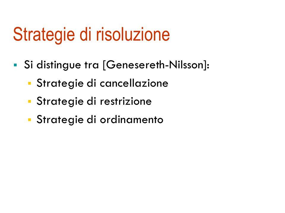 Strategie di risoluzione Si distingue tra [Genesereth-Nilsson]: Strategie di cancellazione Strategie di restrizione Strategie di ordinamento