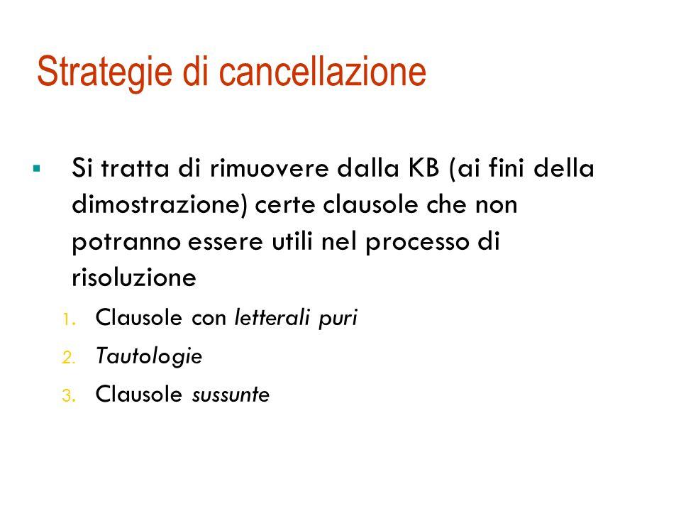 Strategie di cancellazione Si tratta di rimuovere dalla KB (ai fini della dimostrazione) certe clausole che non potranno essere utili nel processo di risoluzione 1.