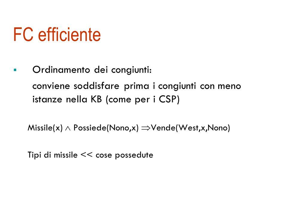 Analisi di FOL-FC-Ask Corretta perché il MP generalizzato è corretto Completa per KB di clausole definite Completa e convergente per calcolo proposizionale e per KB di tipo DATALOG (senza funzioni) perché la chiusura deduttiva è un insieme finito Completa anche con funzioni ma il processo potrebbe non terminare (semidecidibile) Il metodo descritto è sistematico ma non troppo efficiente