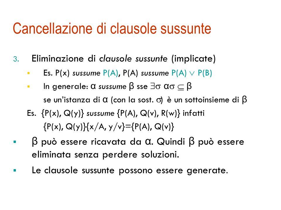 Cancellazione di tautologie Tautologie: clausole che contengono due letterali identici e complementari Es. {P(A), P(A), …} {P(x), Q(y), Q(y)} La loro