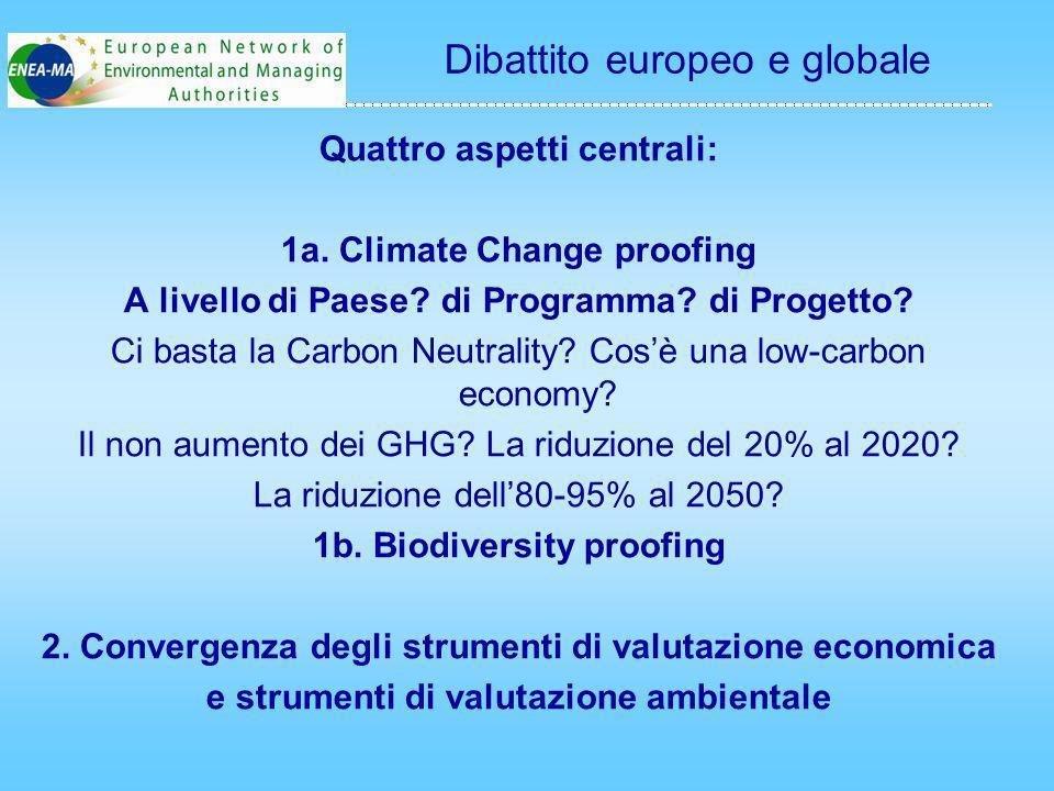 Quattro aspetti centrali: 1a. Climate Change proofing A livello di Paese.
