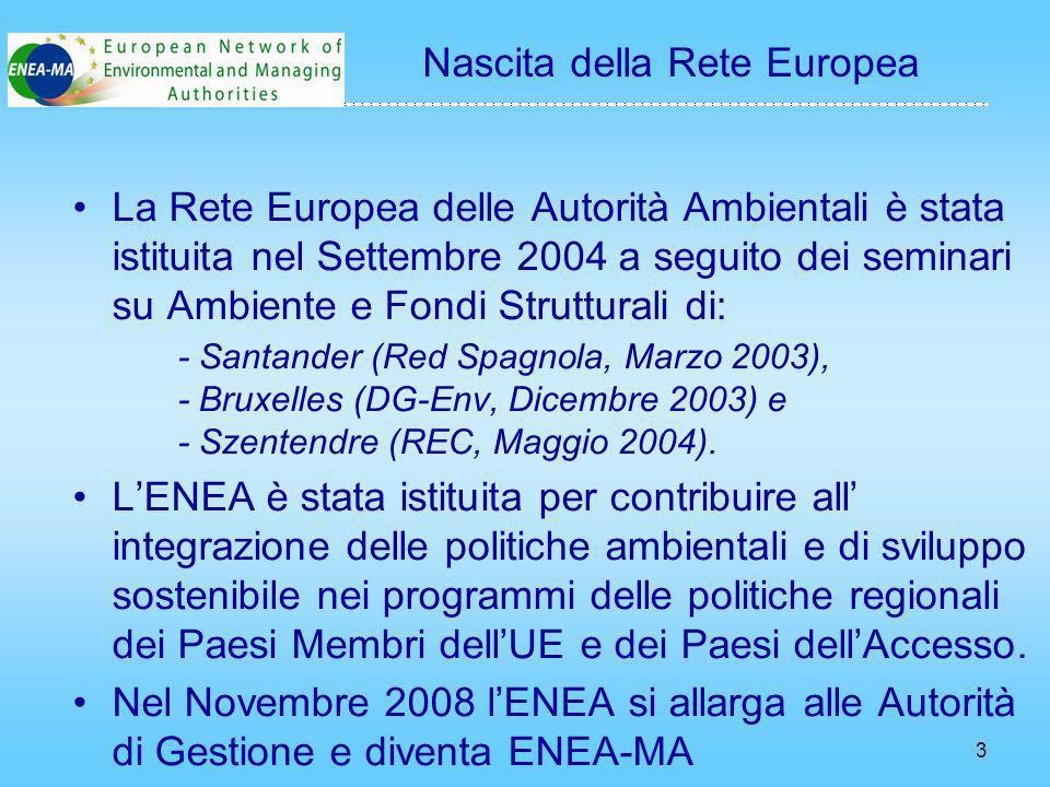 3 Nascita della Rete Europea La Rete Europea delle Autorità Ambientali è stata istituita nel Settembre 2004 a seguito dei seminari su Ambiente e Fondi Strutturali di: - Santander (Red Spagnola, Marzo 2003), - Bruxelles (DG-Env, Dicembre 2003) e - Szentendre (REC, Maggio 2004).