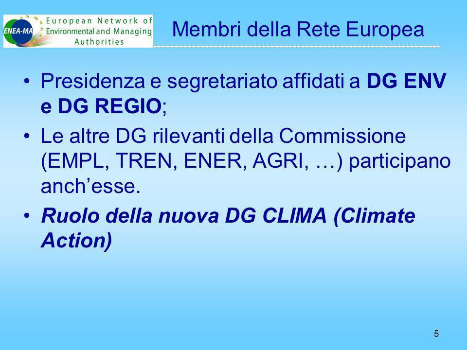 5 Presidenza e segretariato affidati a DG ENV e DG REGIO; Le altre DG rilevanti della Commissione (EMPL, TREN, ENER, AGRI, …) participano anchesse.