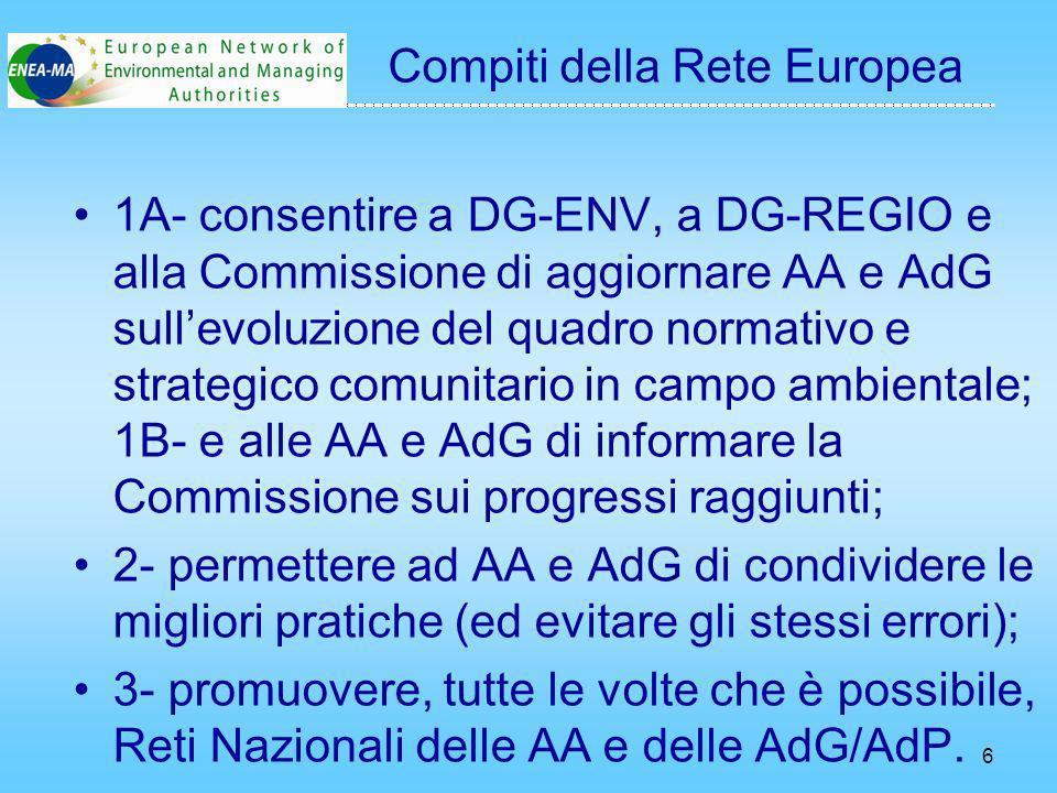 6 1A- consentire a DG-ENV, a DG-REGIO e alla Commissione di aggiornare AA e AdG sullevoluzione del quadro normativo e strategico comunitario in campo ambientale; 1B- e alle AA e AdG di informare la Commissione sui progressi raggiunti; 2- permettere ad AA e AdG di condividere le migliori pratiche (ed evitare gli stessi errori); 3- promuovere, tutte le volte che è possibile, Reti Nazionali delle AA e delle AdG/AdP.