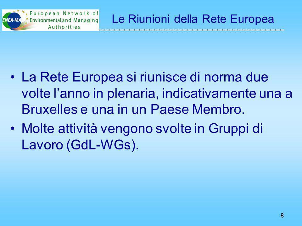8 La Rete Europea si riunisce di norma due volte lanno in plenaria, indicativamente una a Bruxelles e una in un Paese Membro.