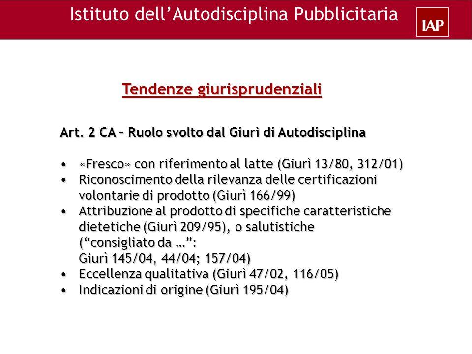 Tendenze giurisprudenziali Art. 2 CA – Ruolo svolto dal Giurì di Autodisciplina «Fresco» con riferimento al latte (Giurì 13/80, 312/01) «Fresco» con r