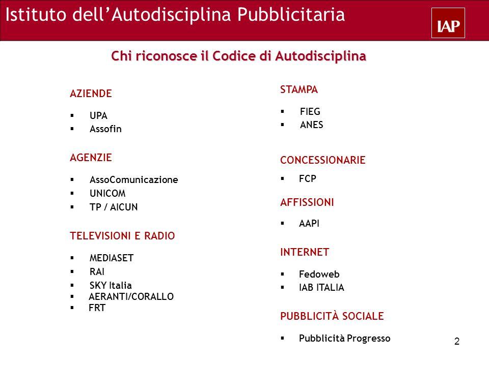 Chi riconosce il Codice di Autodisciplina AZIENDE UPA Assofin AGENZIE AssoComunicazione UNICOM TP / AICUN TELEVISIONI E RADIO MEDIASET RAI SKY Italia