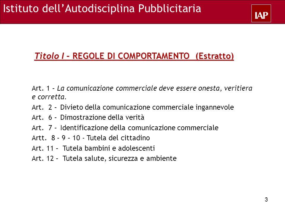 Art. 1 – La comunicazione commerciale deve essere onesta, veritiera e corretta. Art. 2 – Divieto della comunicazione commerciale ingannevole Art. 6 –