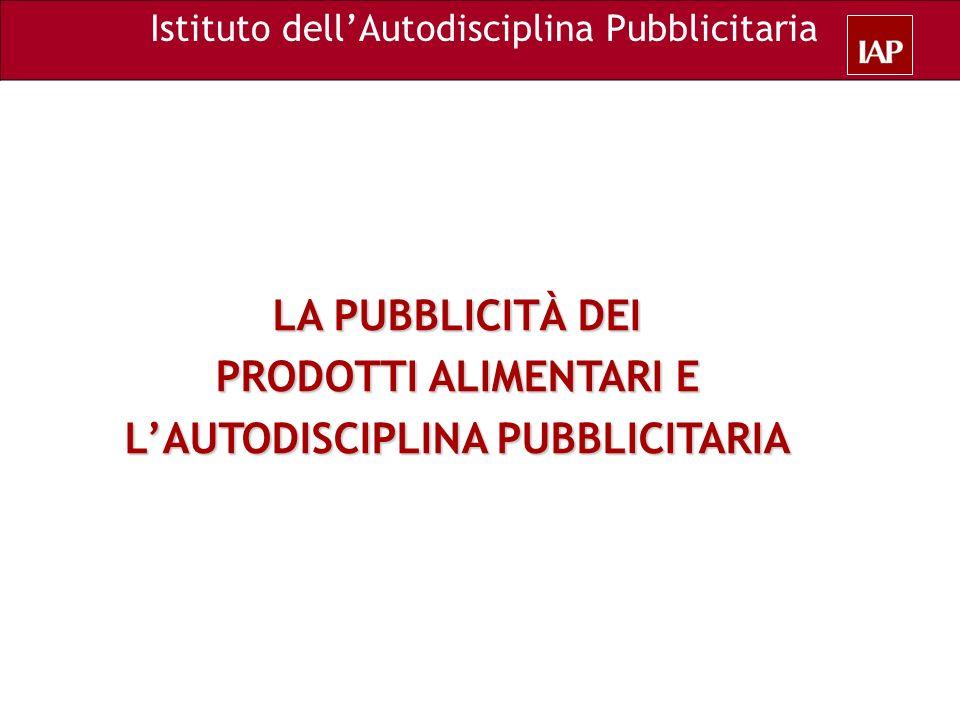 LA PUBBLICITÀ DEI PRODOTTI ALIMENTARI E LAUTODISCIPLINA PUBBLICITARIA Istituto dellAutodisciplina Pubblicitaria