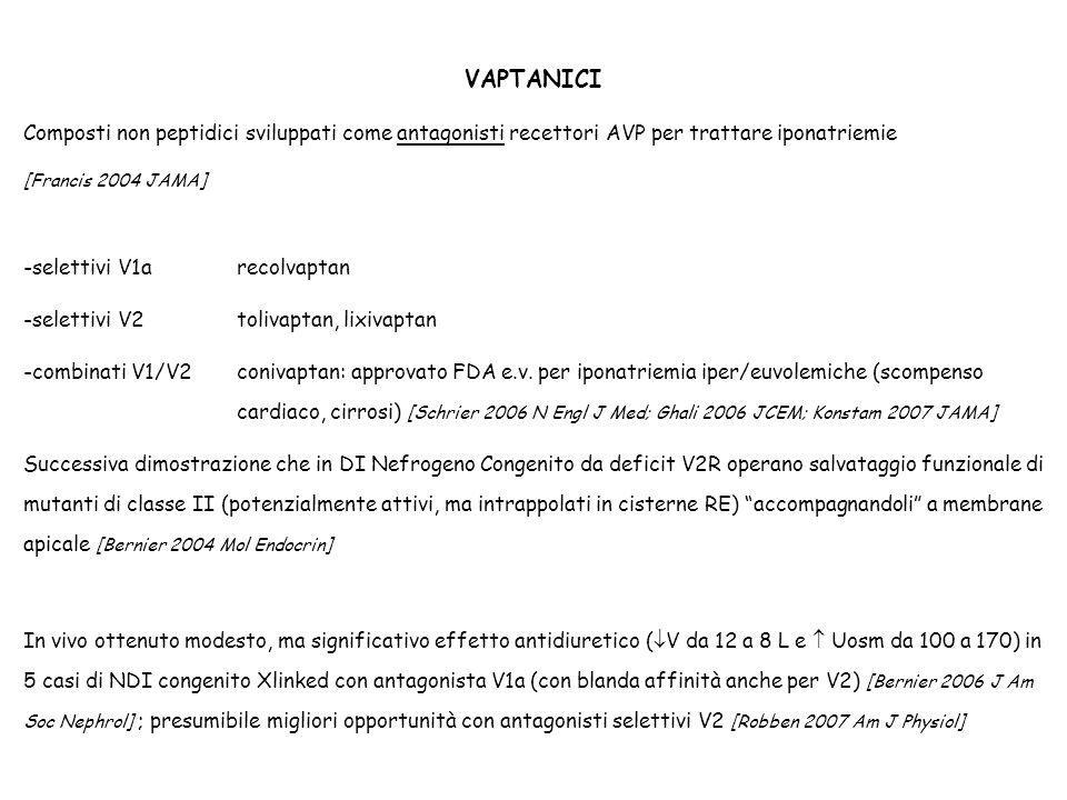 Composti non peptidici sviluppati come antagonisti recettori AVP per trattare iponatriemie [Francis 2004 JAMA] -selettivi V1a recolvaptan -selettivi V
