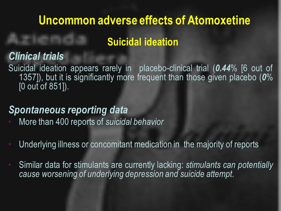 Uncommon adverse effects of Atomoxetine Suicidal ideation Clinical trials Suicidal ideation appears rarely in placebo-clinical trial ( 0.44 % [6 out o