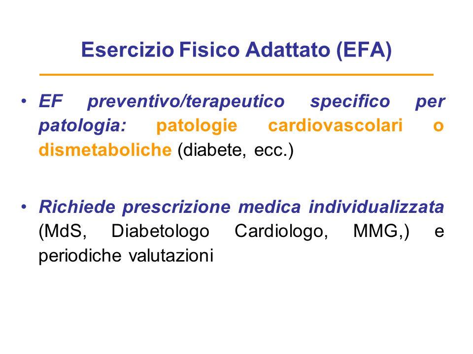 Esercizio Fisico Adattato (EFA) Moderato impegno e moderato-elevato rischio CV !