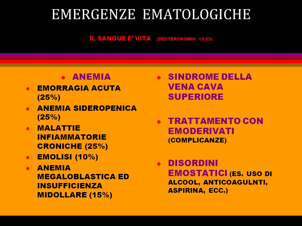 EMERGENZE EMATOLOGICHE IL SANGUE E VITA (DEUTERONOMIO 12:23) l ANEMIA l EMORRAGIA ACUTA (25%) l ANEMIA SIDEROPENICA (25%) l MALATTIE INFIAMMATORIE CRO
