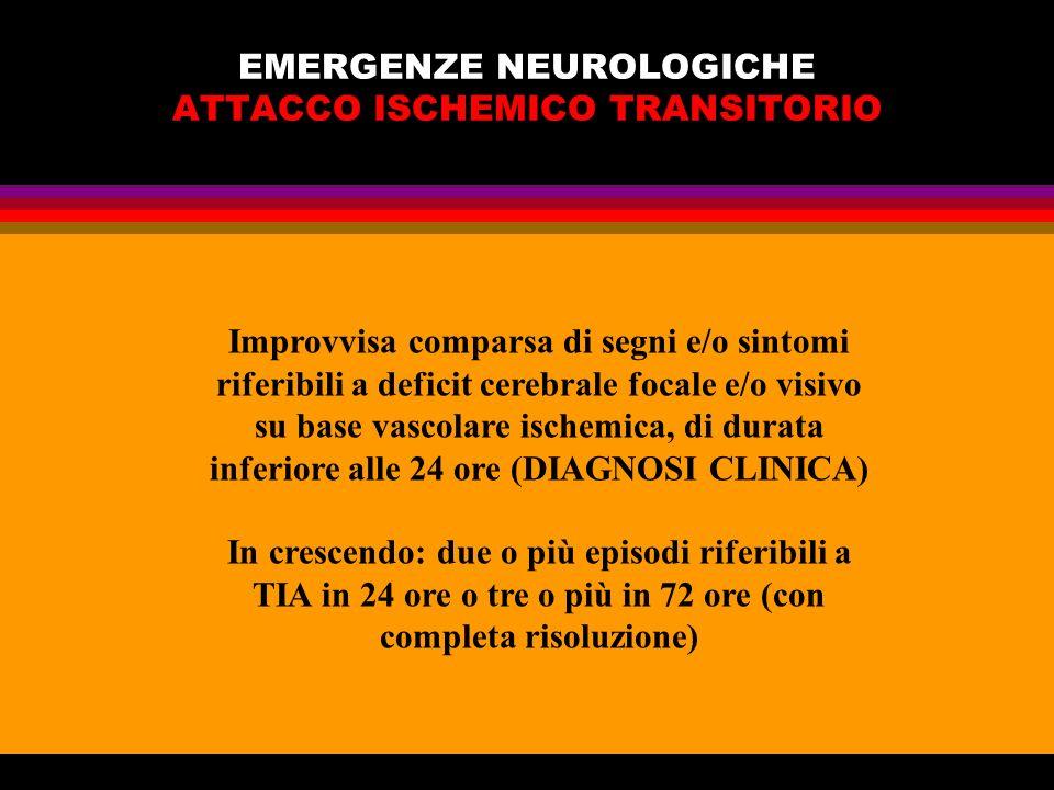 EMERGENZE NEUROLOGICHE ATTACCO ISCHEMICO TRANSITORIO Improvvisa comparsa di segni e/o sintomi riferibili a deficit cerebrale focale e/o visivo su base