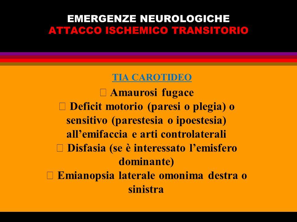 EMERGENZE NEUROLOGICHE ATTACCO ISCHEMICO TRANSITORIO Amaurosi fugace Deficit motorio (paresi o plegia) o sensitivo (parestesia o ipoestesia) allemifac