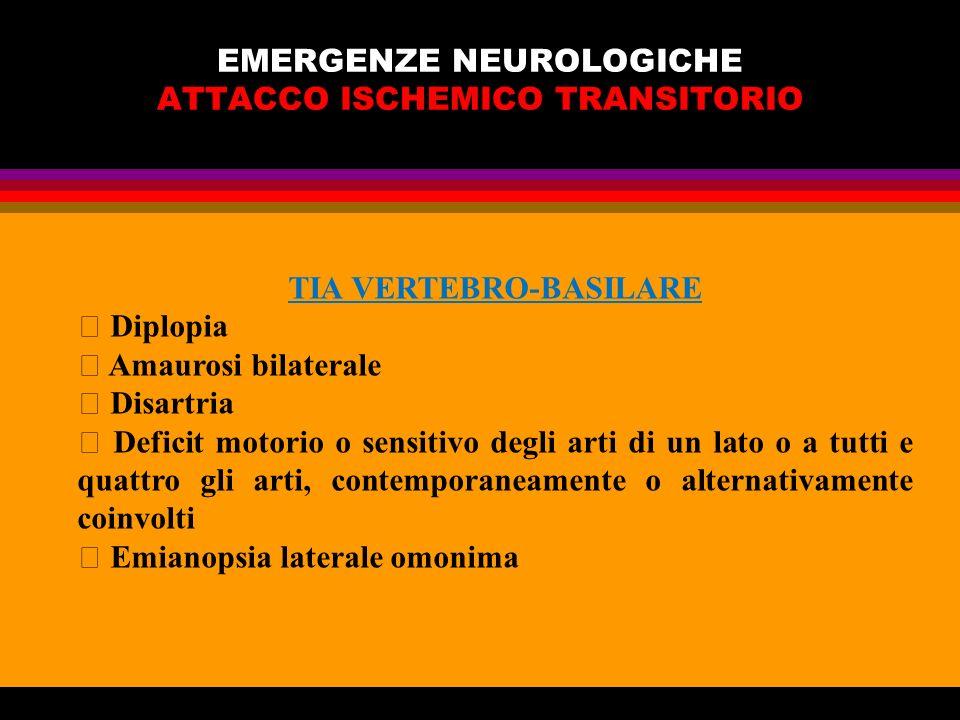 EMERGENZE NEUROLOGICHE ATTACCO ISCHEMICO TRANSITORIO TIA VERTEBRO-BASILARE Diplopia Amaurosi bilaterale Disartria Deficit motorio o sensitivo degli ar