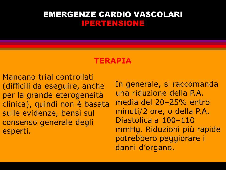 EMERGENZE CARDIO VASCOLARI IPERTENSIONE Mancano trial controllati (difficili da eseguire, anche per la grande eterogeneità clinica), quindi non è basa
