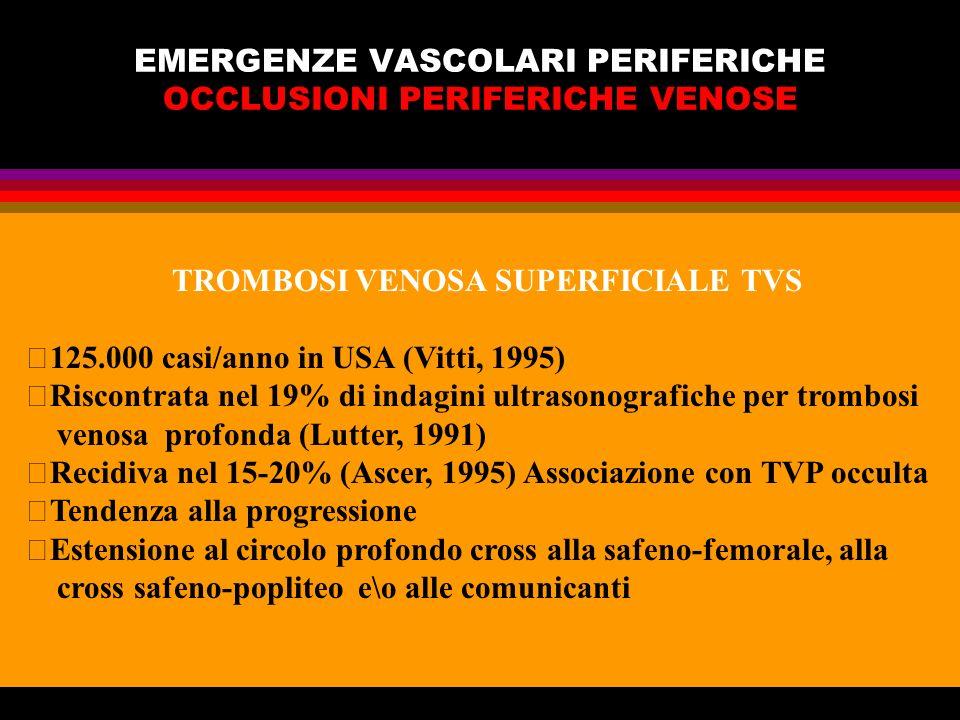 EMERGENZE VASCOLARI PERIFERICHE OCCLUSIONI PERIFERICHE VENOSE TROMBOSI VENOSA SUPERFICIALE TVS 125.000 casi/anno in USA (Vitti, 1995) Riscontrata nel