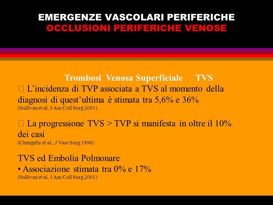 EMERGENZE VASCOLARI PERIFERICHE OCCLUSIONI PERIFERICHE VENOSE Trombosi Venosa Superficiale TVS Lincidenza di TVP associata a TVS al momento della diag