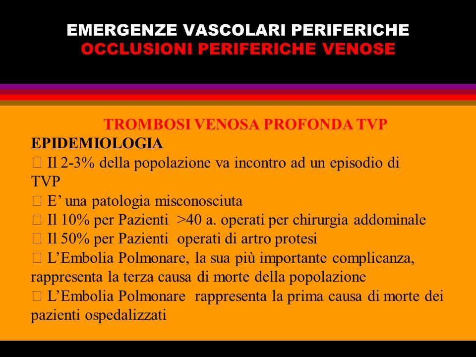 EMERGENZE VASCOLARI PERIFERICHE OCCLUSIONI PERIFERICHE VENOSE TROMBOSI VENOSA PROFONDA TVP EPIDEMIOLOGIA Il 2-3% della popolazione va incontro ad un e