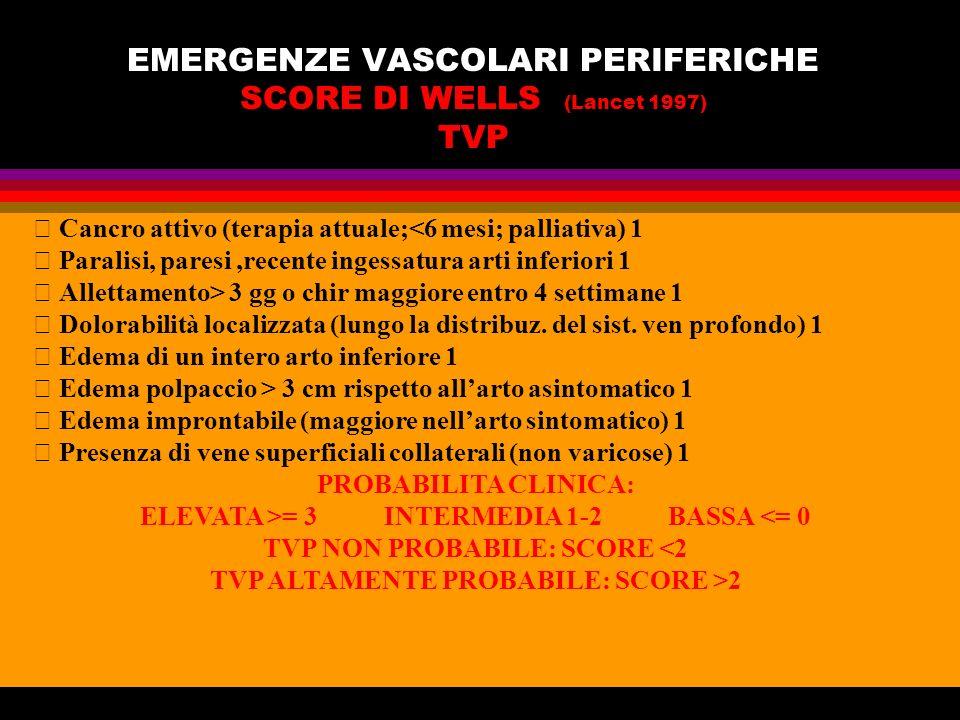 EMERGENZE VASCOLARI PERIFERICHE SCORE DI WELLS (Lancet 1997) TVP Cancro attivo (terapia attuale;<6 mesi; palliativa) 1 Paralisi, paresi,recente ingess