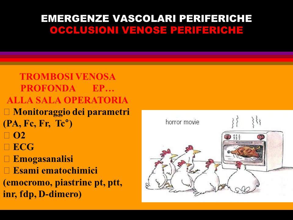 EMERGENZE VASCOLARI PERIFERICHE OCCLUSIONI VENOSE PERIFERICHE TROMBOSI VENOSA PROFONDA EP… ALLA SALA OPERATORIA Monitoraggio dei parametri (PA, Fc, Fr