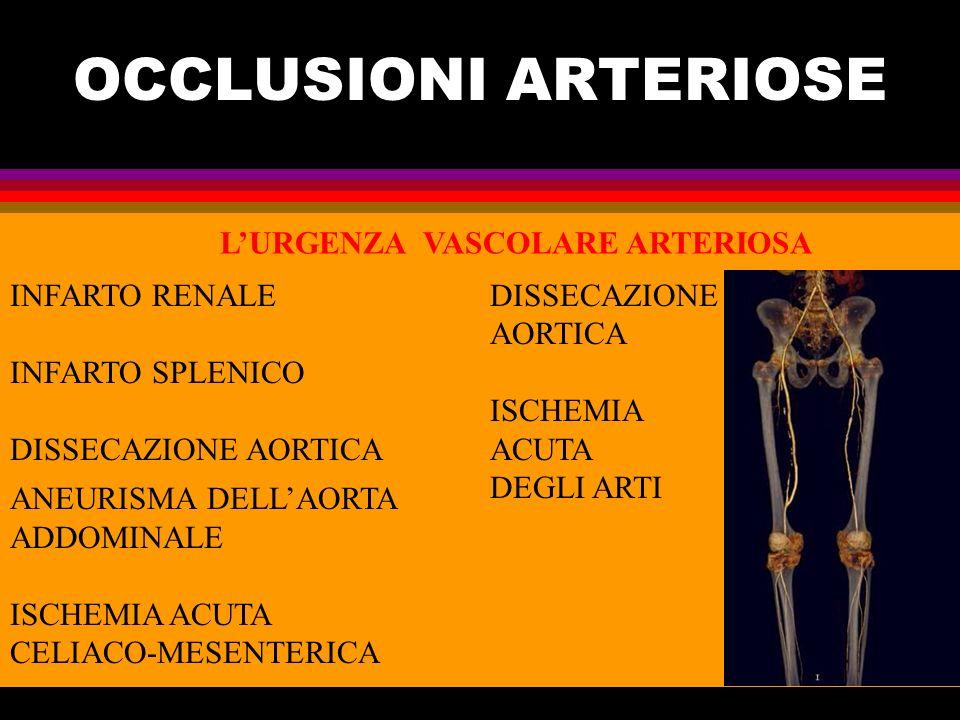LURGENZA VASCOLARE ARTERIOSA ANEURISMA DELLAORTA ADDOMINALE ISCHEMIA ACUTA CELIACO-MESENTERICA INFARTO RENALE INFARTO SPLENICO DISSECAZIONE AORTICA DI