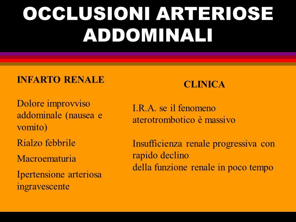 OCCLUSIONI ARTERIOSE ADDOMINALI INFARTO RENALE Dolore improvviso addominale (nausea e vomito) Rialzo febbrile Macroematuria Ipertensione arteriosa ing