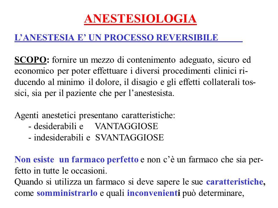 POTENZA DI UN ANESTETICO INALATORIO Viene classificata in base: 1) Alla solubilità del gas nel solvente ( sangue) 2) Alla minima concentrazione alveolare ( MAC) Il tempo necessario per linduzione e per il risveglio da una anestesia inalatoria o la variazione da un piano anestetico allaltro è diretta- mente proporzionale alla solubilità del gas GAS ANESTETICO SOLUBILITA NEL SANGUE N 2 O 0.47 ISOFLUORANO 1,4 ENFLUORANO 1.9 ALOTANO 3.5 METOSSIFLUORANO 13