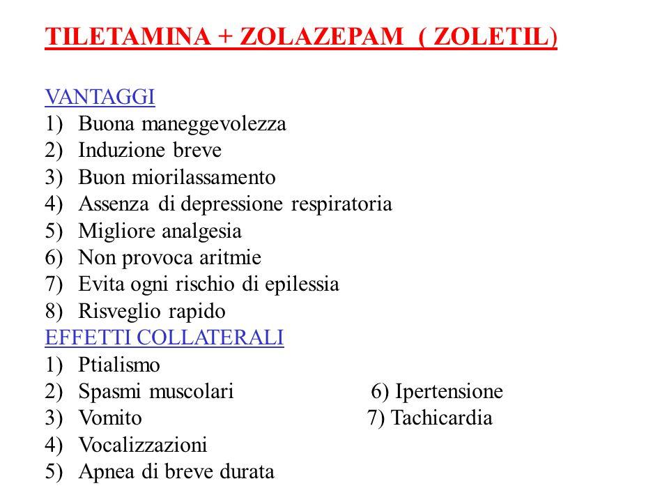 TILETAMINA + ZOLAZEPAM ( ZOLETIL) VANTAGGI 1)Buona maneggevolezza 2)Induzione breve 3)Buon miorilassamento 4)Assenza di depressione respiratoria 5)Mig
