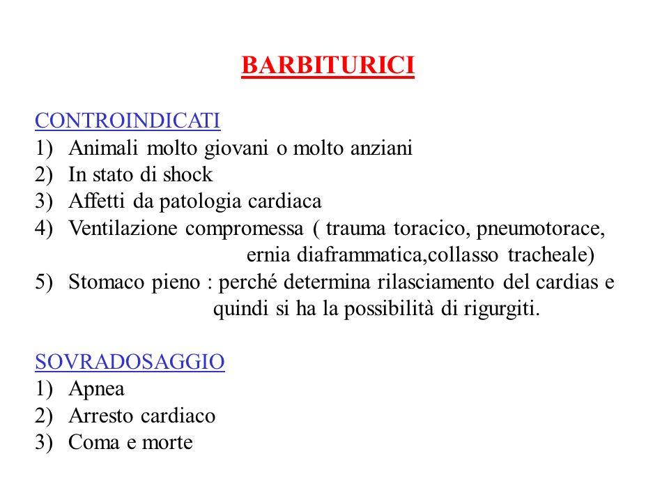 BARBITURICI CONTROINDICATI 1)Animali molto giovani o molto anziani 2)In stato di shock 3)Affetti da patologia cardiaca 4)Ventilazione compromessa ( tr